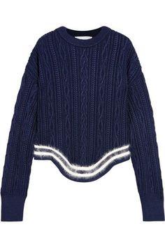 Esteban Cortazar - Striped Cable-knit Sweater - Navy