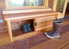 Outdoor Shoe Storage, Porch Storage, Bench With Shoe Storage, Boot Storage, Front Porch Bench, Small Front Porches, Decks And Porches, Entry Bench, Side Porch