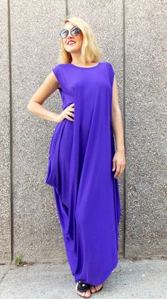 Maxi Plus Size Dress / Maxi Purple Kaftan / Oversize Maxi by Teyxo Who Can Look Good in this TENT?