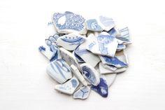 Japanese Blue and White Bulk Sea Pottery,Coastal Home Decor,Ceramic Craft Supply,Vintage Beach Decor,Beach House Decoration,Beach Finds by ReverseGem on Etsy