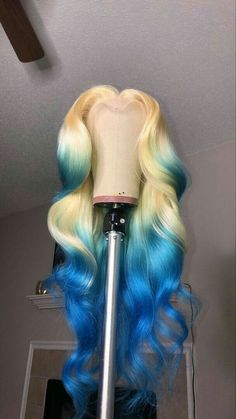 Blue Wigs Lace Frontal Hair Human Hair Lace Front Wigs With Baby Hair Cheap Frontals Pink Purple And Blue Wig Wig Styles, Curly Hair Styles, Natural Hair Styles, My Hairstyle, Baddie Hairstyles, Braid Hairstyles, Teenage Hairstyles, Colored Weave Hairstyles, 2015 Hairstyles