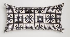 Florence Broadhurst Circles and Squares Long Cushion Black