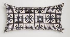 Florence Broadhurst Circles and Squares Long Cushion Black