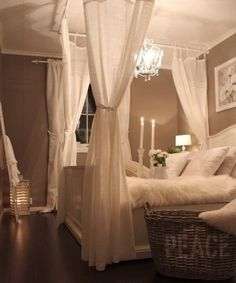 I really love this! Can't wait to buy some curtain rods and attempt to make a canopy bed. #hopelessromantic #mybedroomwillbethebomb lol