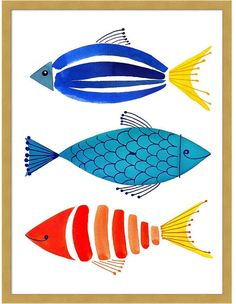 Amanti Art Summer Fish Trio 19 x 25 gerahmter Kunstdruck - drawing Pinterest Pinturas, Art Encadrée, Fish Design, Fish Art, 3 Fish, Watercolor Art, Simple Watercolor Paintings, Watercolor Pattern, Painting Abstract