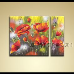 Colorful Modern Abstract Painting Artist Oil Painting Stretched Ready To Hang Flower. This 2 panels canvas wall art is hand painted by Bo Yi Art Studio, instock - $141. To see more, visit OilPaintingShops.com