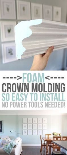 DIY Home Decor FOAM crown molding is easier to install than traditional molding, but once it's up, it looks the same! No power tools required, it is installed with glue. Pre-made corners available too! DIY home upgrades for the beginning remodeler. Home Remodeling Diy, Home Renovation, Basement Remodeling, Easy Home Decor, Cheap Home Decor, Crown Molding Installation, Foam Crown Molding, Wood Molding, Molding Ideas
