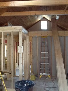 Front unit.  View of loft.  New bathroom framed out.  March 10, 2015