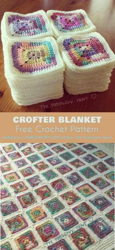 Crofter Solid Square Blanket Free Crochet Pattern #freecrochetpatters #crochetblanket #grannysquare