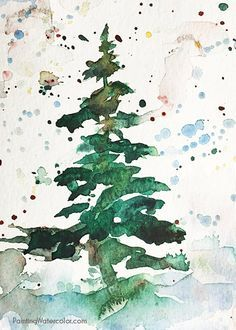 Watercolor painting tutorials for beginners to advanced artists from internationally known artist Jennifer Branch. Choosing art supplies, sketching and watercolor painting. Watercolor Christmas Tree, Watercolor Trees, Christmas Paintings, Watercolor Cards, Watercolor Paintings, Watercolors, Easy Watercolor, Abstract Watercolor, Abstract Art