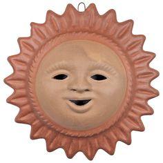 Large Terra Cotta Sun Face Mexican Pottery Terracotta