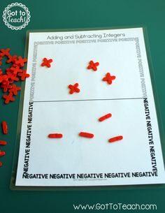 Adding and subtracting integers using tile spacers from the hardware store. Freebie and video demo are included in this blog post!
