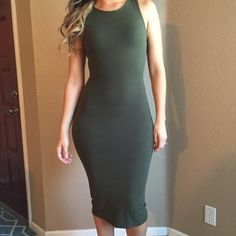 Olive dress Only worn once which was New Years// runs small so will fit a small/medium// not Brandy just posted for views Brandy Melville Dresses Maxi