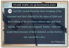Browse Stamp Quran Topic on https://quranindex.info/search/stamp #Quran #Islam [4:155]