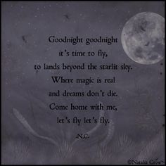 """""""Goodnight goodnight. It's time to fly, to lands beyond the starlit sky. What magic is real and dreams don't die. Come home with me, let's fly let's fly."""" -Natalia Crow."""