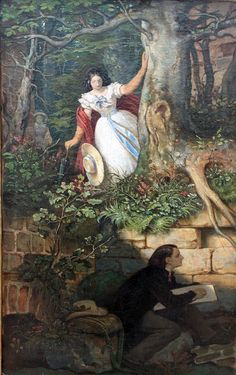 """""""The Painter Joseph Binder's Adventure Moritz von Schwind - 1860 Alte Nationalgalerie - Berlin (Germany) Painting - oil on canvas Image via the Athenaeum """" Moritz Von Schwind, Joseph, Academic Art, Art Database, Oil Painting Reproductions, Classical Art, Gods And Goddesses, Girls In Love, Artist At Work"""