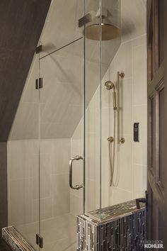 Home Ideas from KOHLER. Great idea for an attic shower Attic Shower, Attic Bathroom, Downstairs Bathroom, Master Bathroom, Bathroom Ideas, Sloped Ceiling Bathroom, Slanted Ceiling, Bathroom Design Inspiration, Tiny House Cabin