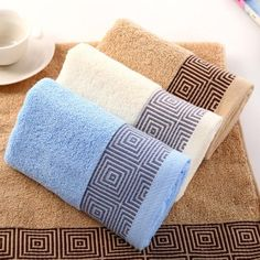 100% Cotton Soft Bath Towel - Thick Embroidered Borders