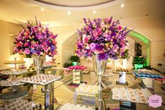 Casamento rosa, roxo e lilás