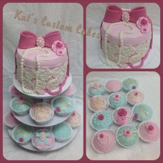Elegant Baby Shower Cake and Cupcakes