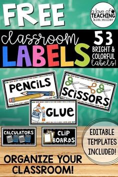 Classroom Organization - Get over 50 FREE classroom labels with editable blank templates included! Perfect for organizing and labeling your classroom! Use during back to school or anytime you want to get organized! by liza Classroom Labels Free, Classroom Organization Labels, Classroom Supplies, School Organization, Organizing, Classroom Ideas, Classroom Design, Classroom Jobs Free, Classroom Layout