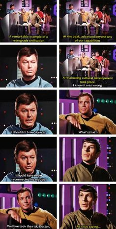 "After Spock's brain is reunited with his  body (thanks to Spock's instructions), Kirk inquires how he feels. Spock responds, ""On the whole, Captain, I believe I am quite fit."" Then he begins to rattle off the new insight that he gained from the experience. From Spock's Brain (Star Trek)"