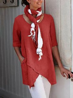 linen clothes for women tunic tops Over 60 Fashion, Look Fashion, Fashion Outfits, Style Casual, Casual Tops, Half Sleeves, Types Of Sleeves, Shirt Bluse, Blouse Vintage