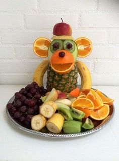 """Monkey Food"" - Kreamors Küche - Gesund - Mary's Secret World - Cute Food, Good Food, Monkey Food, Monkey Monkey, Party Food Buffet, Fruit Buffet, Fruit Creations, Creative Food Art, Creative Ideas"