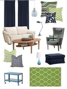 livingroom moodboard apple green and navy LOVE Jonathan Adler & Ikea @Heather Burkleo