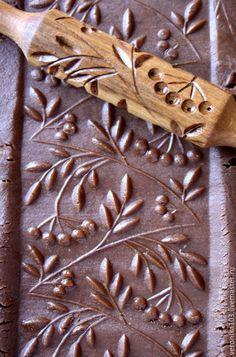 Pattern Rolling-Pin / Скалка для печенья пряничная скалка рябина - коричнево-белый, скалка, скалка для печенья