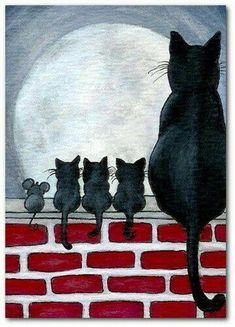 Details about Just Like Family Black Cat Kittens Fence Mice Mouse Friends- by BiHrLe Print - Animals Art And Illustration, Cat Illustrations, Halloween Illustration, I Love Cats, Crazy Cats, Cute Cats, Cat Quilt, Cat Drawing, Drawing Base