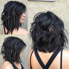 Long Black Bob with Messy Layers