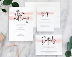 In this romantic modern wedding invitation, a delicate wash of watercolor in blush tones pairs with pretty hand-lettering, printed on luxe cotton stock.
