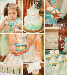 "Mermaid party ideas...clam cookies, glass ""bubbles"", ruffle cake"