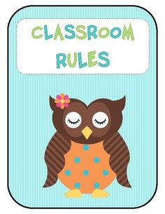 Owl Classroom Rules for an owl themed classroom.There are 6 rules included, but if you have specific rules you would like added please email me a...
