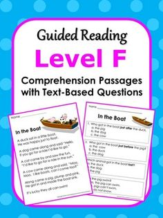 Reading Comprehension Passages with Text-Based Questions. Currently available for Guided Reading Levels C, D, E, F, G/H, I/J and K/L.  ($)