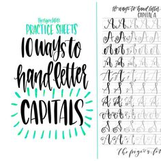 10 Styles to Letter the Uppercase Alphabet   Lettering Practice Sheets   Capital Letters   Lettering Practice Sheets, Penmanship Practice, Calligraphy Practice, Modern Calligraphy, Capital Letters Calligraphy, Learn Handwriting, Improve Your Handwriting, Handwriting Analysis, Handwriting Worksheets