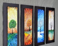 """The Four Seasons - Fused Glass Wall Art with Textured Relief -  Mounted On Steel - 10""""x24"""" each"""