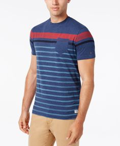 Roll out in superior casual style and comfort with this Wagon T-shirt from Tommy Hilfiger, crafted with a classic crew neckline, a stripe print and a contrasting pocket at the chest. | Cotton/polyeste
