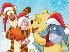 Tigger, Piglet, Pooh and Eeyore Tigger And Pooh, Winnie The Pooh Quotes, Winnie The Pooh Friends, Pooh Bear, Disney Winnie The Pooh, Winnie The Pooh Christmas, Disney Christmas, Merry Christmas, Xmas