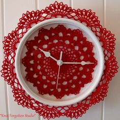 Crochet O'Clock~ Finished May 2015. For this clock I used Aunt Lydia's size 10 thread. The color is Victory Red. I used Denise Augostine's *Tea Time Doily* pattern for the clock face. http://web.archive.org/web/20040624162755/www.denisecrochets.com/teatime.html   My tutorial on how to make them is posted there.  http://bellacrochet.blogspot.com/search?q=Crochet%20Clock     https://www.pinterest.com/KnotForgottenSt/knot-forgotten-studio/