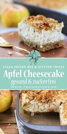 Gesunder Apfel Cheesecake ohne Zucker - zuckerfrei Clean Eating mit Thermomix und Pampered Chef. Lecker gesund Kuchen backen. Glutenfreie Rezepte für Kuchen und Backen. Zuckerfrei backen, ohne Zucker backen im Thermomix TM6 mit Pampered Chef Ofenhexe backen. Apfel Kuchen mit Streuseln ohne Zucker. Käsekuchen wie Apfel Cheesecake. #thermomix #tm6 #pamperedchef #cleaneating #zuckerfrei #cheesecake #apfelkuchen #käsekuchen #gesund #glutenfrei Pampered Chef, Clean Eating Recipes, Healthy Eating, Cake Cookies, Cheesecake, Food To Make, Blueberry, Cake Recipes, Healthy Lifestyle