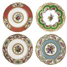 Andrea by Sadek Sevres Porcelain Dinner Plates (Set of 4 Asst): Andrea by Sadek Sevres Porcelain Dinner Plates (Set of 4 Asst). During Jefferson's years in France, the most fashionable tableware was made at S�vres. The period's preferred colors and floral designs inspired our elegant porcelain dinnerware. Richly hued and gilded, first produced in the 18th century for Louis XV, this inspired reproduction beautifully imitates the original lavish designs. Four assorted plates include one each…