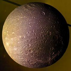 "DIONE N00186469 - 507 uv-grn-ir filter - ""Courtesy NASA/JPL-California Institute of Tecnology."" processing 2di7 & titanio44"