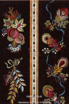 Textile design with spray of flowers. France, 19th century