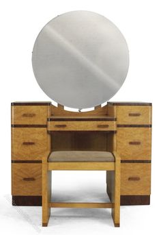 Art Deco Dressing Table and Stool in Maple