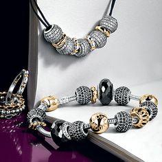 Pandora black and gold bracelet idea