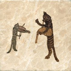 Medieval cats playing a fiddle and bagpipe, 1320, illuminations in Harley Bestiary. Marble Tile by williammorristile.com