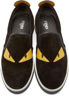 Fendi Black Suede Slip-On Bugs Sneakers