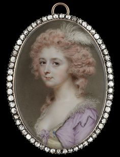 """John Smart: """"A Lady, wearing a low-cut pearl-bordered yellow bodice with mauve bow, fur-bordered mauve dress with jewelled pearl and sapphire clasp, embroidered lace collar, hair curled and pin-powdered and decorated with white ostrich feather,"""" 1785"""